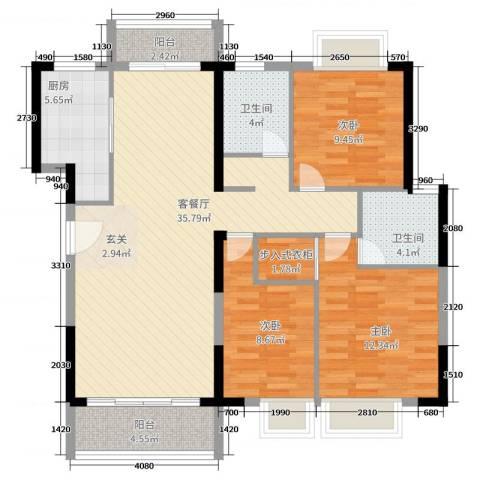 滨河佳苑3室2厅2卫1厨127.00㎡户型图