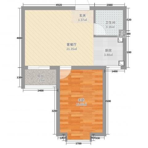 溪林湾・东方新天地1室2厅1卫0厨59.00㎡户型图