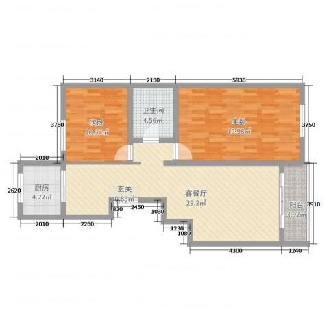 上东阳光2室2厅1卫1厨104.00㎡户型图
