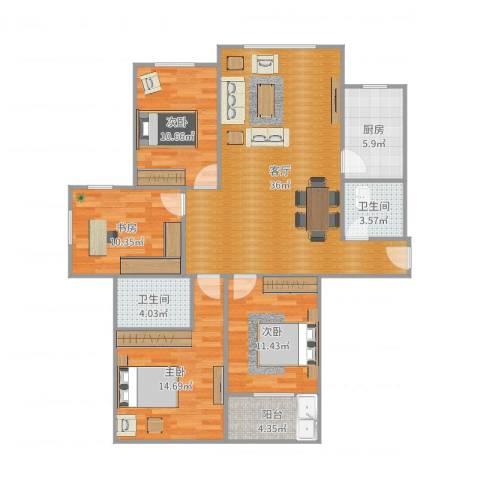东港嘉苑一区4室1厅2卫1厨126.00㎡户型图