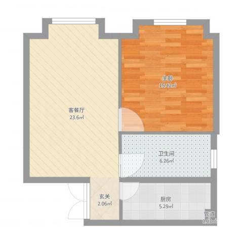 当代名筑1室2厅1卫1厨63.00㎡户型图