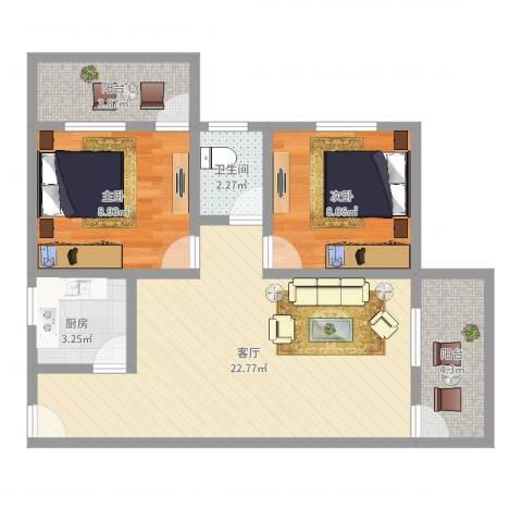 广发新村2室1厅1卫1厨67.00㎡户型图