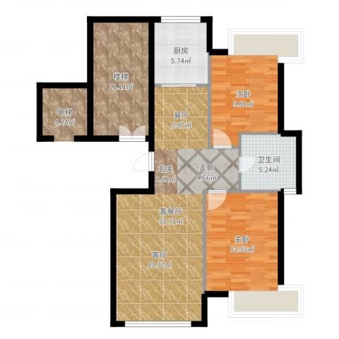 阳光世纪城2室2厅1卫1厨95.00㎡户型图