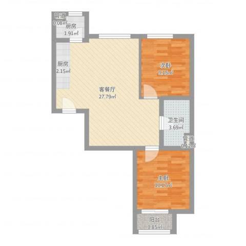 水岸荣华2室2厅1卫1厨68.00㎡户型图
