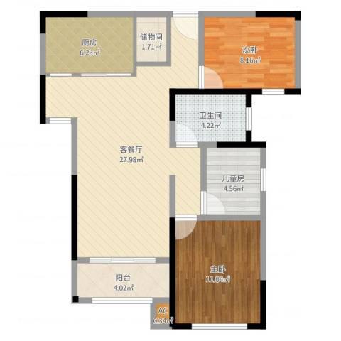 路劲主场琅悦3室2厅1卫1厨78.12㎡户型图