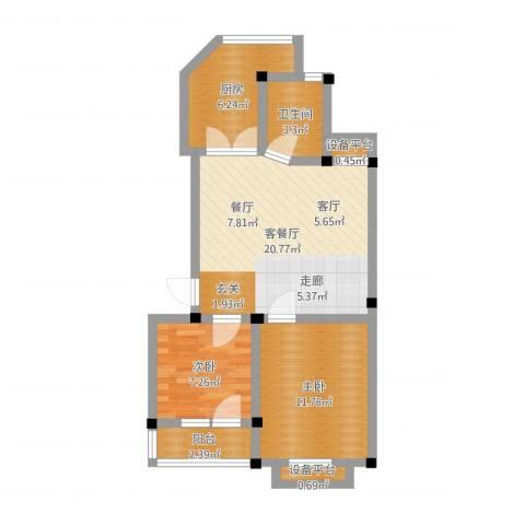 宇秦园2室2厅1卫1厨66.00㎡户型图