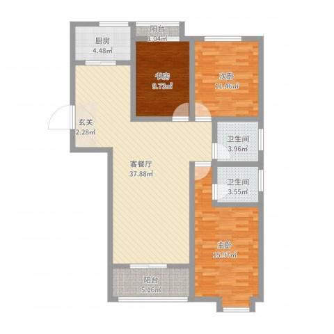 逸境华府3室2厅2卫1厨117.00㎡户型图