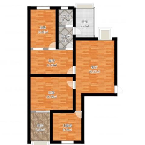 信息工程学院宿舍3室2厅2卫1厨110.00㎡户型图