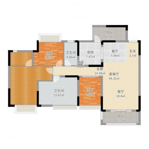 美丽湾畔花园01户型2室2厅5卫1厨160.00㎡户型图