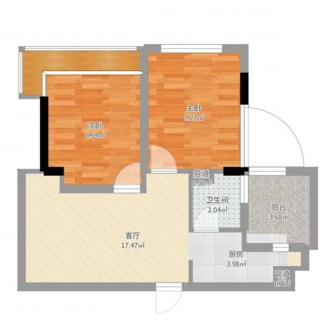 唯美嘉园2室1厅2卫1厨55.00㎡户型图