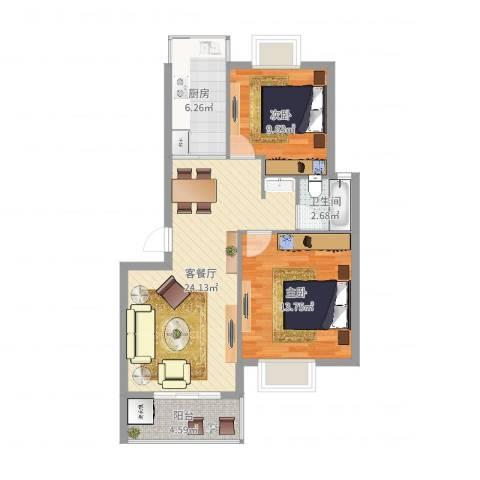 盛世嘉苑2室2厅1卫1厨76.00㎡户型图