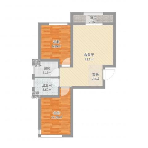 天盛名都2室2厅1卫1厨67.00㎡户型图
