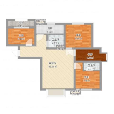 长春明珠4室2厅2卫1厨76.00㎡户型图