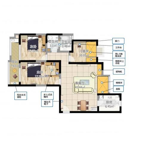 嘉德水韵金阁3室2厅2卫1厨128.00㎡户型图