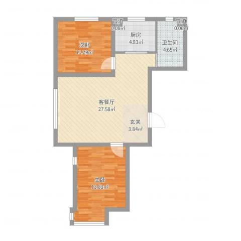 天盛名都2室2厅1卫1厨78.00㎡户型图