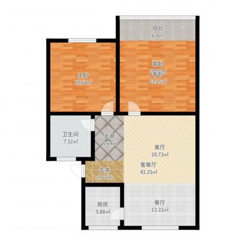 西湖新城2室2厅1卫1厨133.00㎡户型图