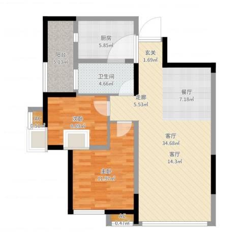军安卫士花园2室1厅2卫2厨89.00㎡户型图