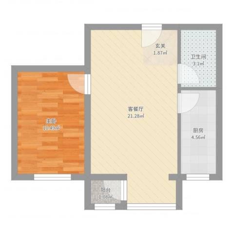 好佳明苑1室2厅1卫1厨58.00㎡户型图