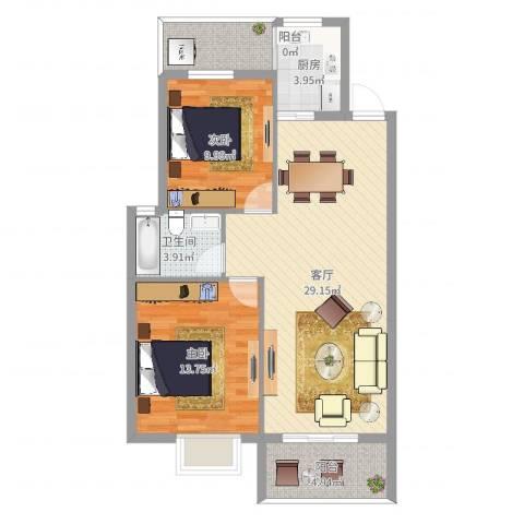 盛世郦都2室1厅1卫1厨77.78㎡户型图