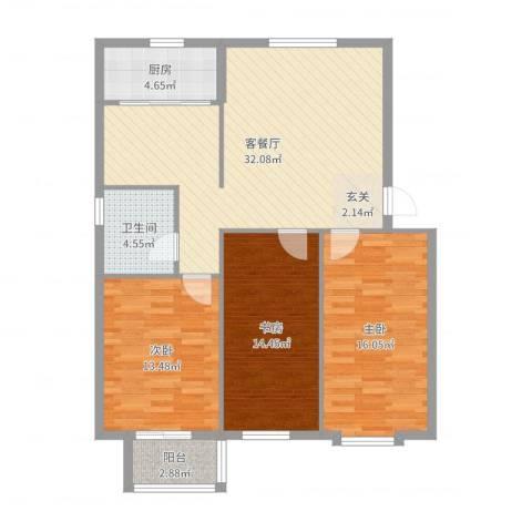 吉祥尚府3室2厅1卫1厨110.00㎡户型图