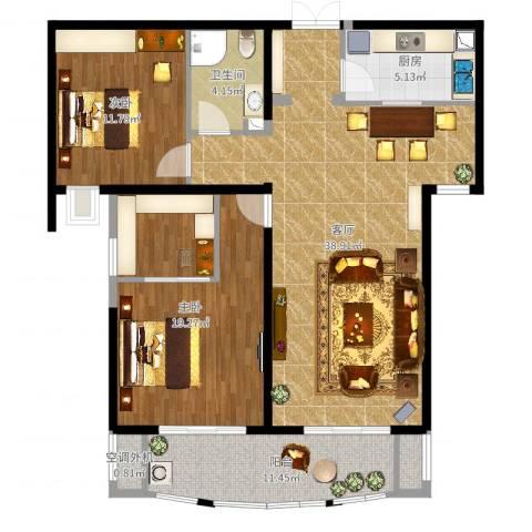 金吉华冠苑2室1厅1卫1厨104.00㎡户型图
