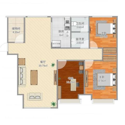 魅力熙郡3室3厅1卫1厨111.00㎡户型图