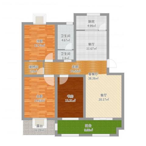 沂南县芙蓉花园新区5#楼3室2厅2卫1厨128.00㎡户型图
