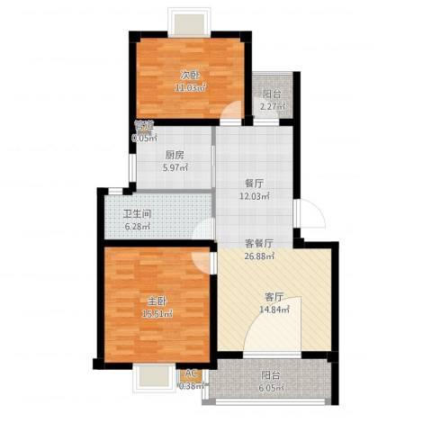 恒邦幸福里2室2厅1卫1厨107.00㎡户型图