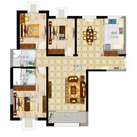 金吉华冠苑3室2厅2卫1厨129.00㎡户型图