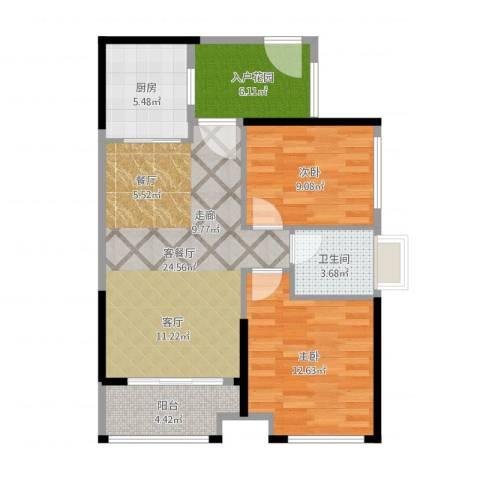 普君新城华府2室2厅1卫1厨82.00㎡户型图