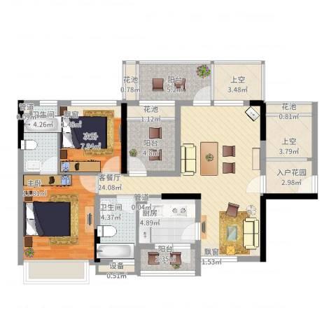 幸福里2室2厅2卫1厨122.00㎡户型图
