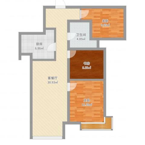 万科麓山(万科天泰金域国际二期)3室2厅1卫1厨93.00㎡户型图