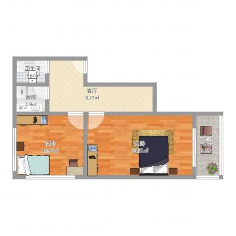上钢三村2室1厅1卫1厨54.00㎡户型图