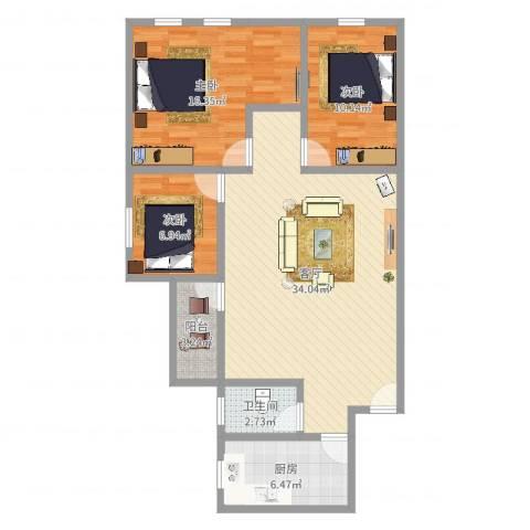 江南雅居3室1厅1卫1厨100.00㎡户型图