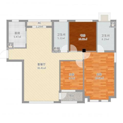 远洋广场3室2厅2卫1厨120.00㎡户型图
