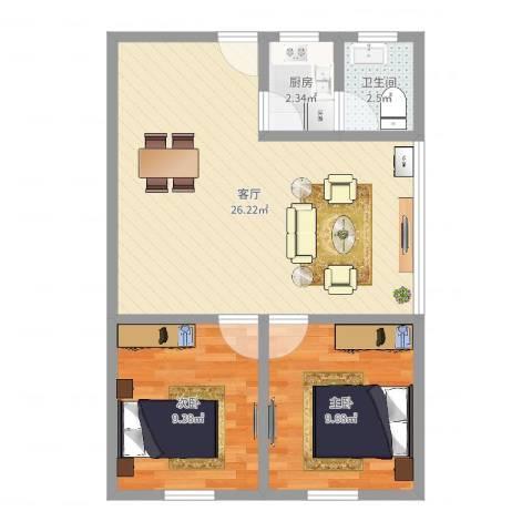 福景居2室1厅1卫1厨50.12㎡户型图
