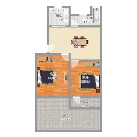 东南三村2室1厅1卫1厨88.00㎡户型图