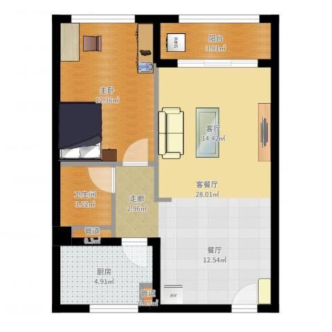 汇展香格里拉1室2厅1卫1厨66.00㎡户型图