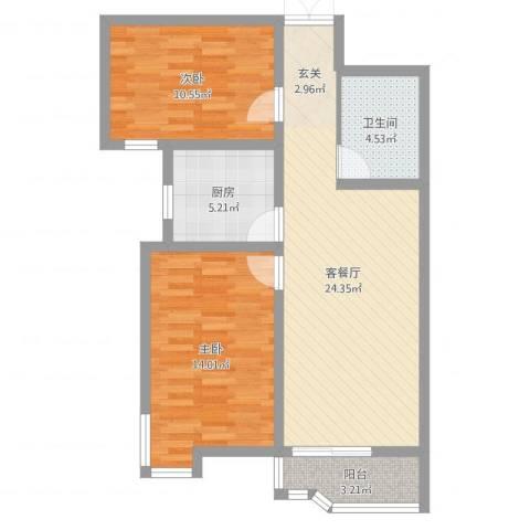 都市怡景三期2室2厅1卫1厨77.00㎡户型图