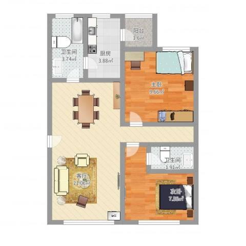 大上海国际花园2室1厅2卫1厨62.00㎡户型图