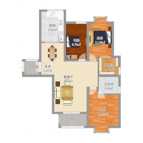 金吉华冠苑3室2厅1卫1厨117.00㎡户型图