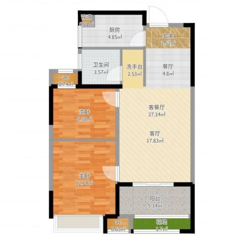 天正理想城2室2厅1卫1厨81.00㎡户型图