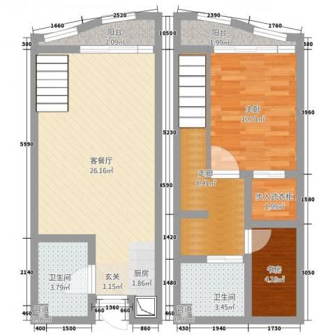 洱海国际生态城2室2厅2卫0厨62.91㎡户型图