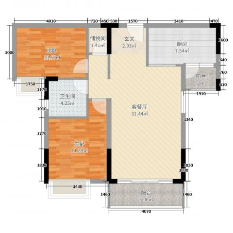 滨河佳苑2室2厅1卫1厨105.00㎡户型图