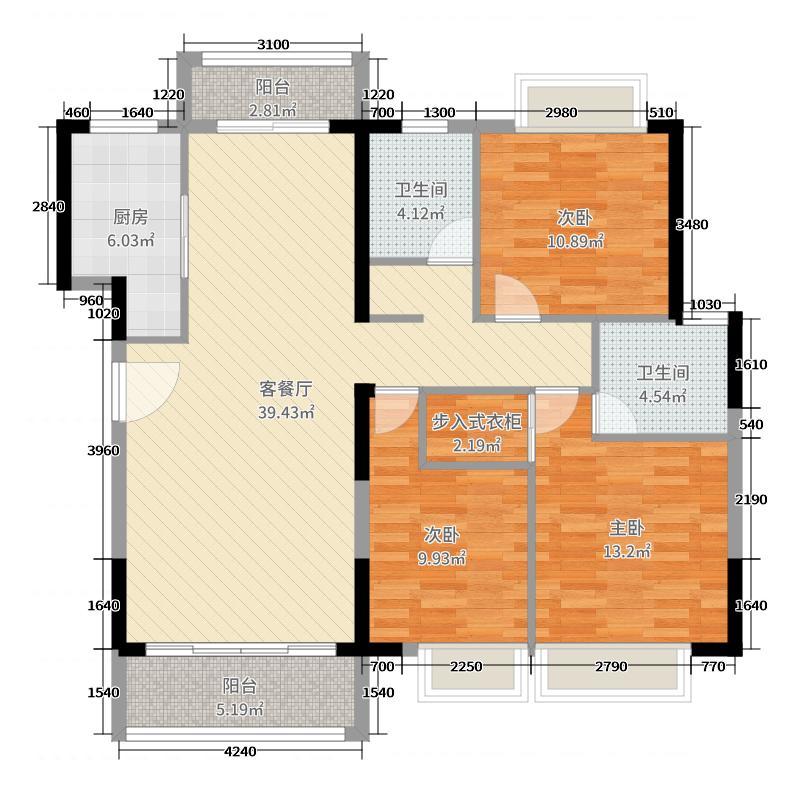 滨河佳苑127.55㎡C3_户型3室3厅2卫1厨