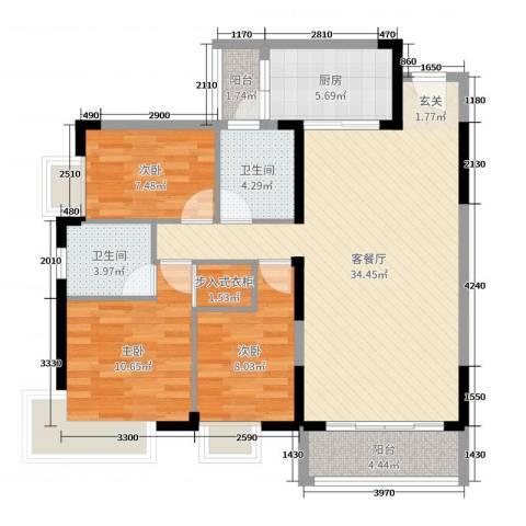 滨河佳苑3室2厅2卫1厨118.00㎡户型图