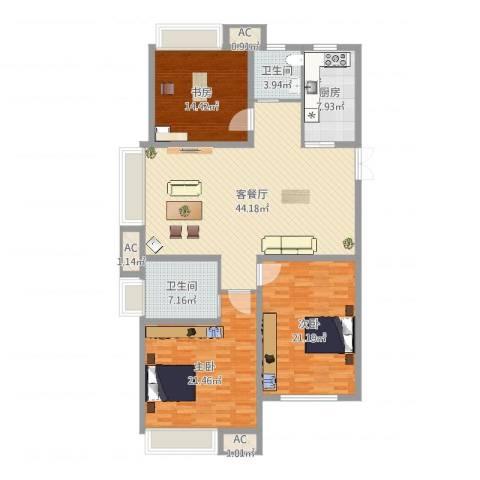 绿地海域香廷3室2厅2卫1厨154.00㎡户型图