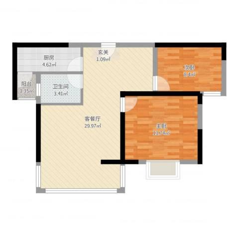 胜利华庭2室2厅1卫1厨77.00㎡户型图