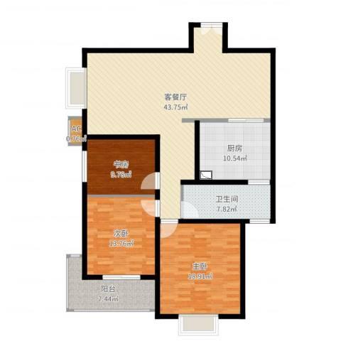 市政府文景小区3室2厅2卫1厨141.00㎡户型图