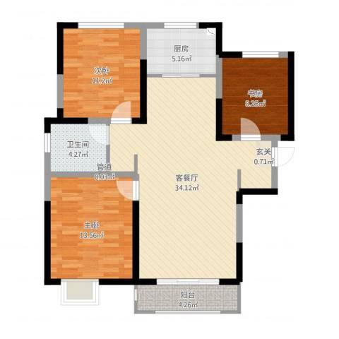 宝境檀香3室2厅1卫1厨101.00㎡户型图